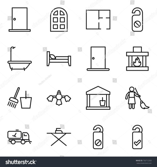 small resolution of thin line icon set door arch window plan do not distrub