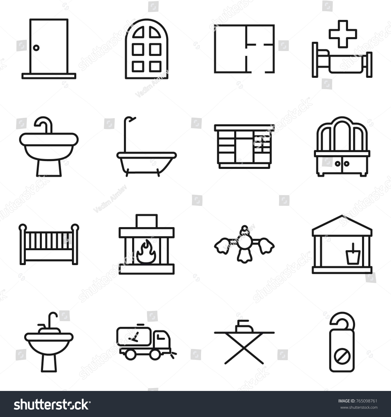 hight resolution of thin line icon set door arch window plan hospital sink