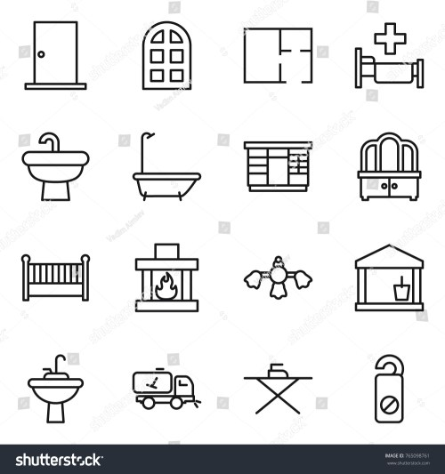 small resolution of thin line icon set door arch window plan hospital sink