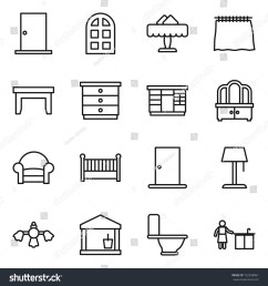 thin line icon set door arch window restaurant curtain table  [ 1500 x 1600 Pixel ]