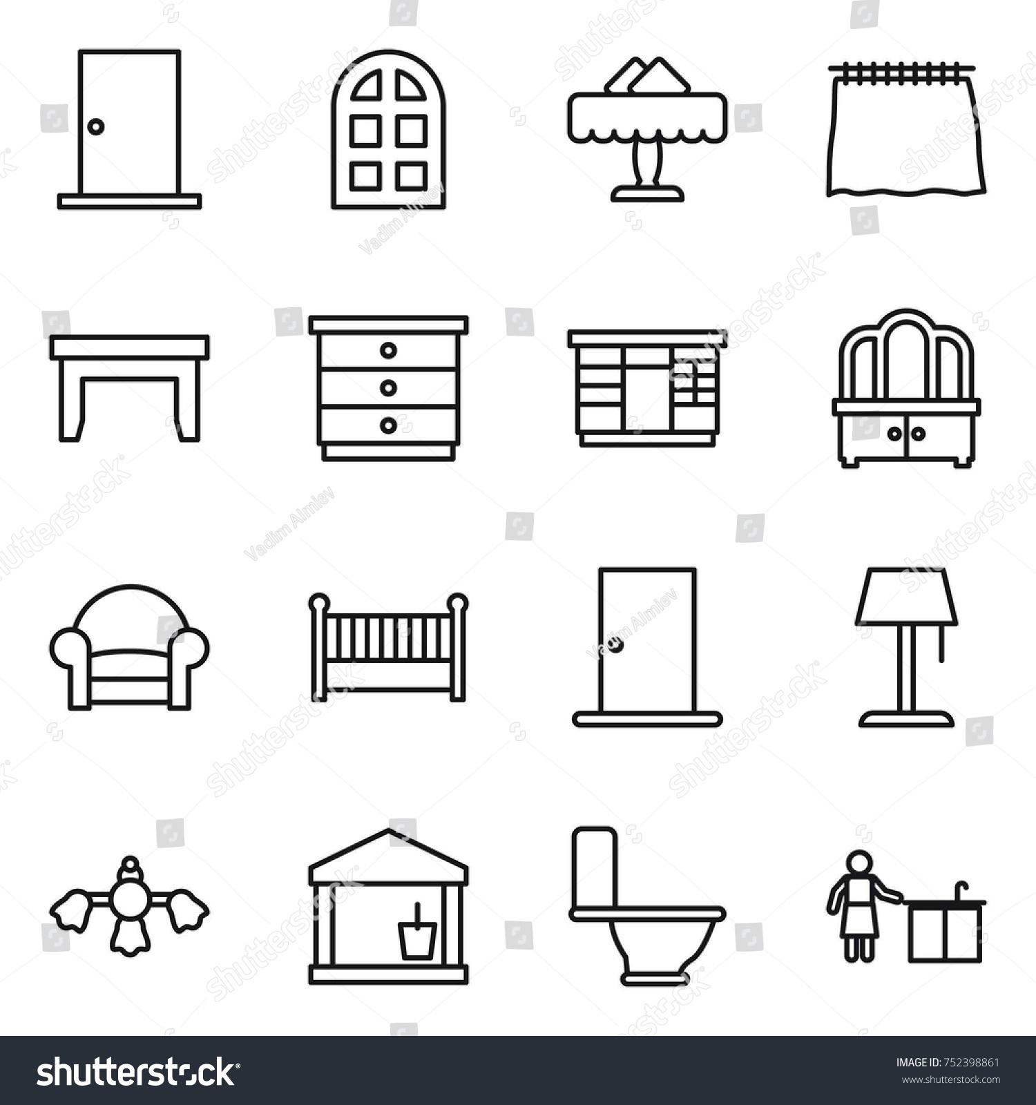 hight resolution of thin line icon set door arch window restaurant curtain table