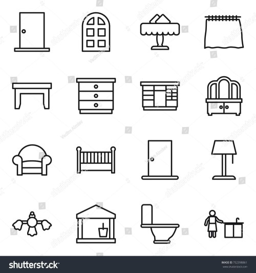 small resolution of thin line icon set door arch window restaurant curtain table