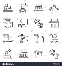 thin line icon set factory vector welding machine oil pipeline battery  [ 1500 x 1600 Pixel ]
