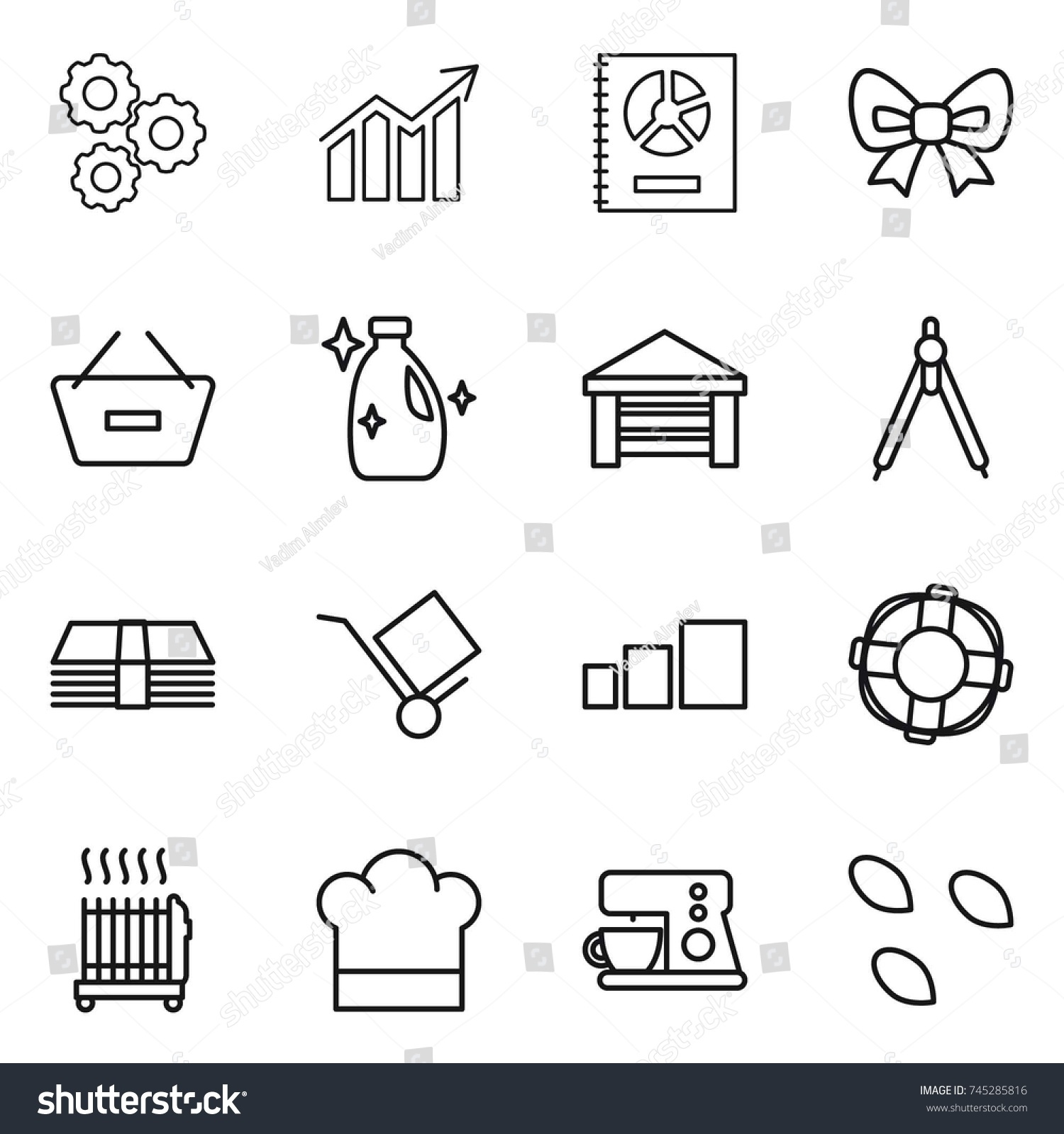 hight resolution of thin line icon set gear diagram annual report bow remove from