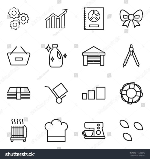 small resolution of thin line icon set gear diagram annual report bow remove from