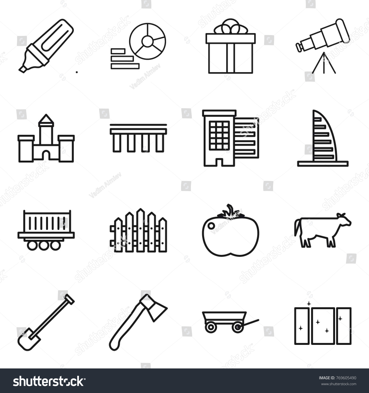 hight resolution of thin line icon set marker diagram gift telescope castle bridge houses skyscraper truck shipping fence tomato cow shovel axe trailer