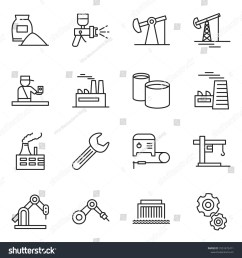 thin line icon set oil jack vector factory airbrush cement bag  [ 1500 x 1600 Pixel ]