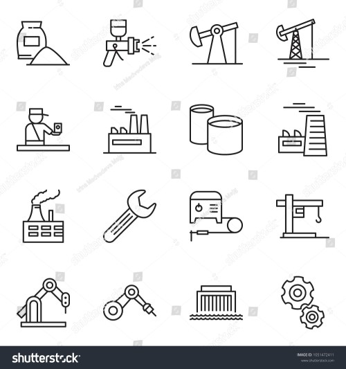 small resolution of thin line icon set oil jack vector factory airbrush cement bag
