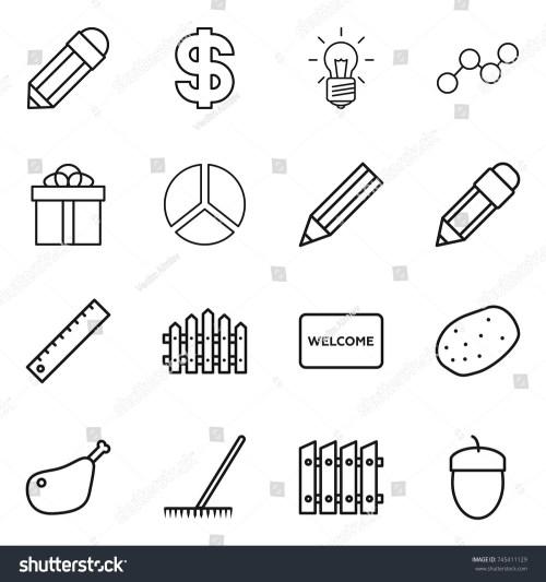 small resolution of thin line icon set pencil dollar bulb graph gift diagram ruler fence welcome mat potato chicken leg rake acorn vector