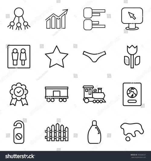 small resolution of thin line icon set share diagram monitor arrow wc star