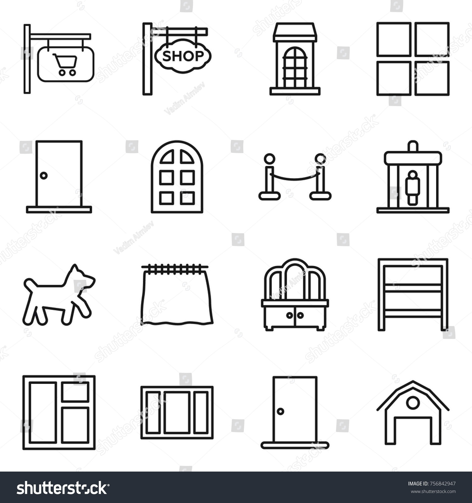 hight resolution of thin line icon set shop signboard building window door arch