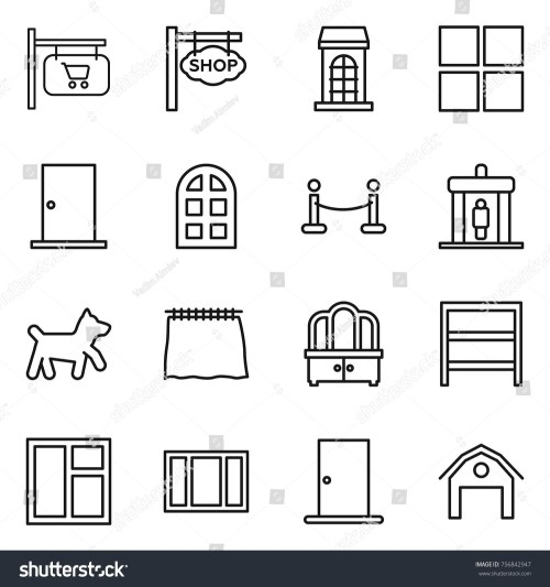small resolution of thin line icon set shop signboard building window door arch