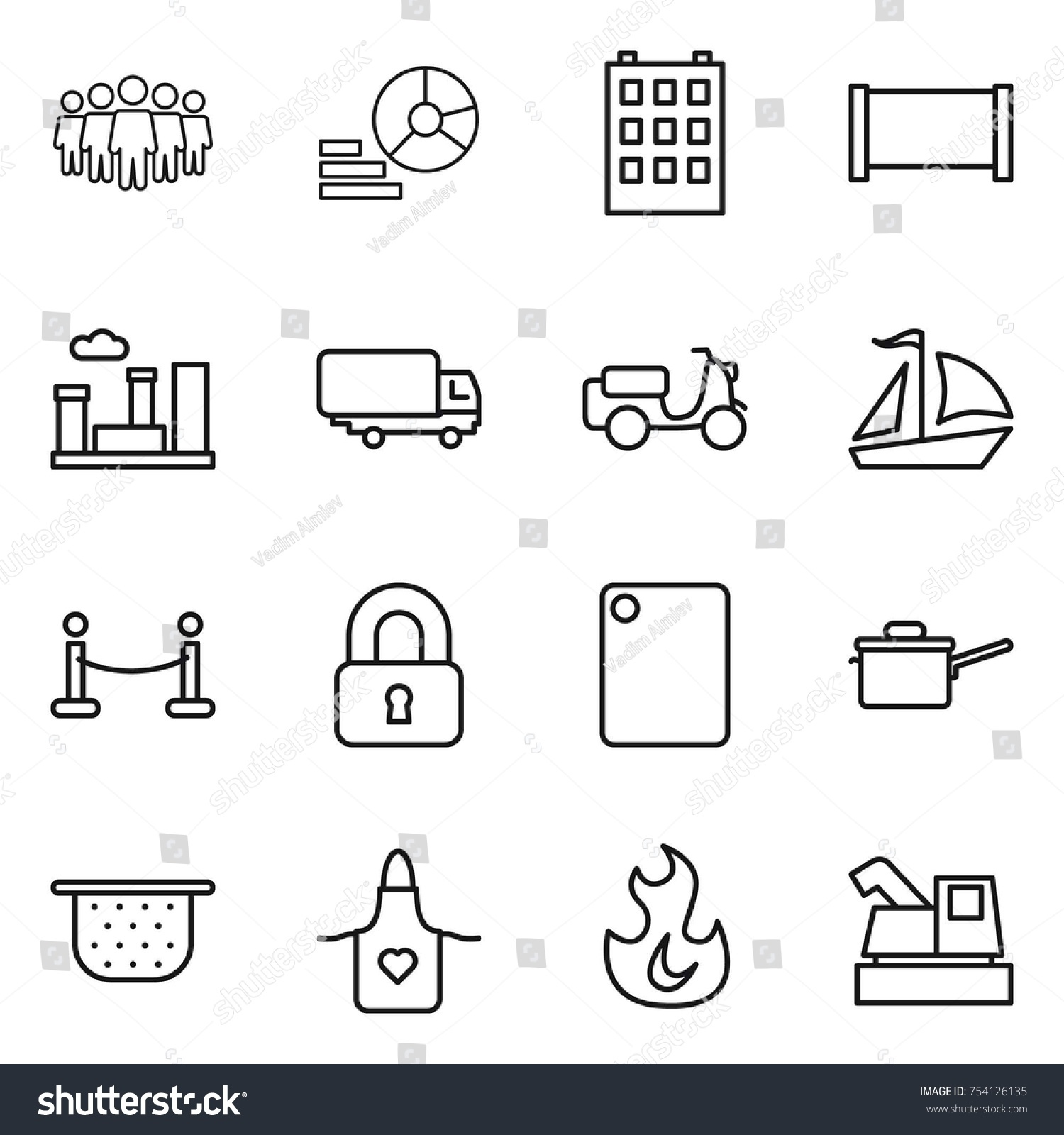 hight resolution of thin line icon set team diagram building fence city shipping