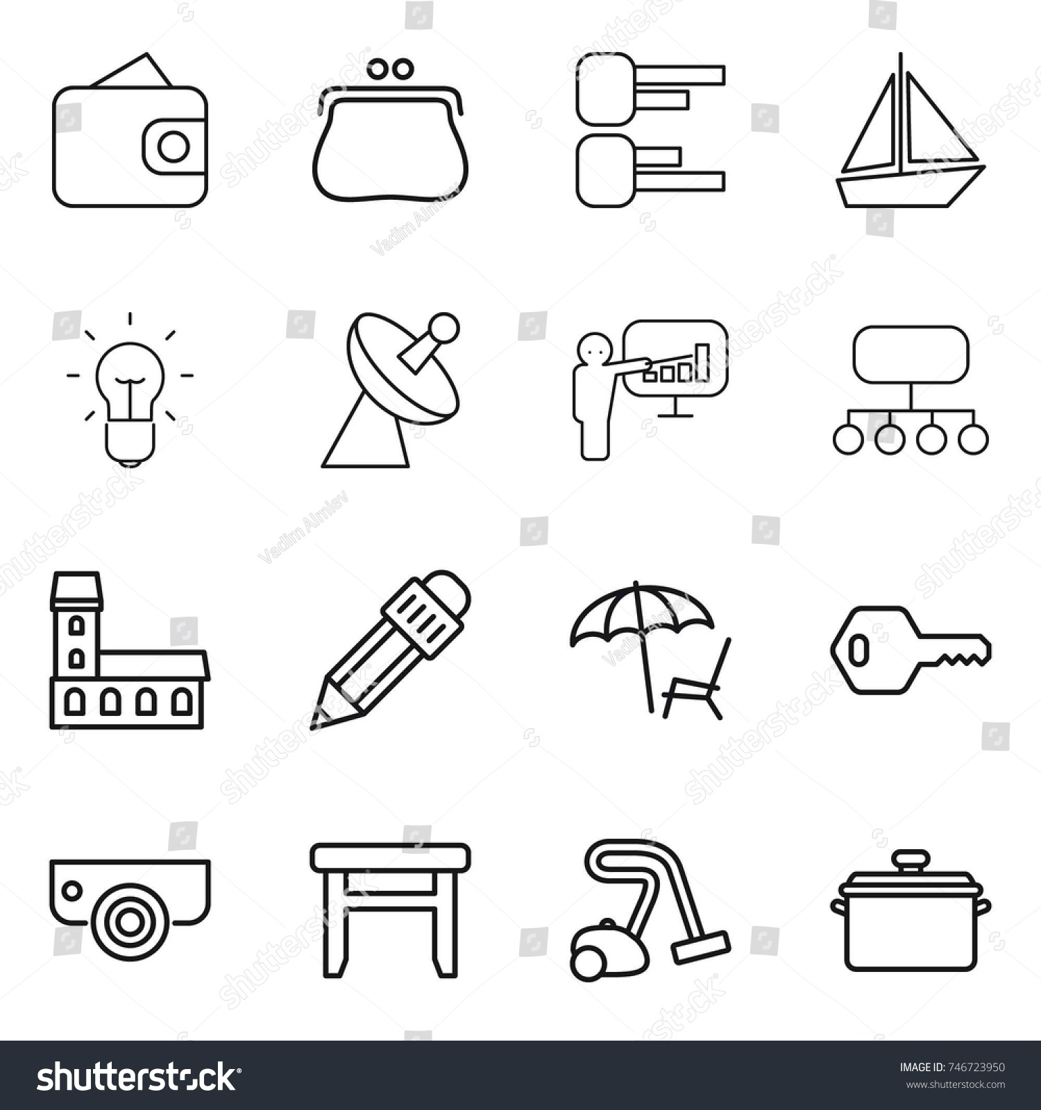 hight resolution of thin line icon set wallet purse diagram boat bulb satellite