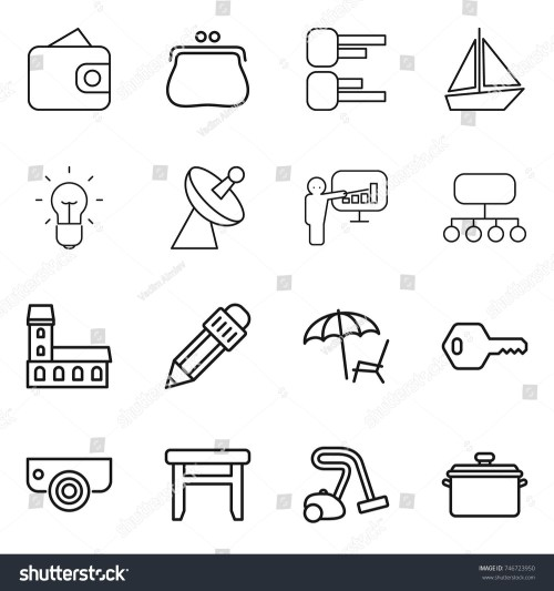 small resolution of thin line icon set wallet purse diagram boat bulb satellite
