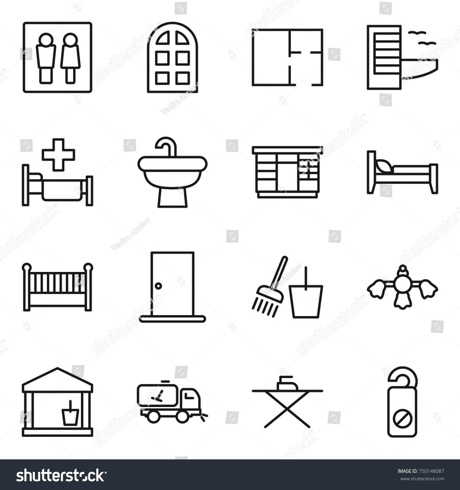 hight resolution of thin line icon set wc arch window plan hotel hospital