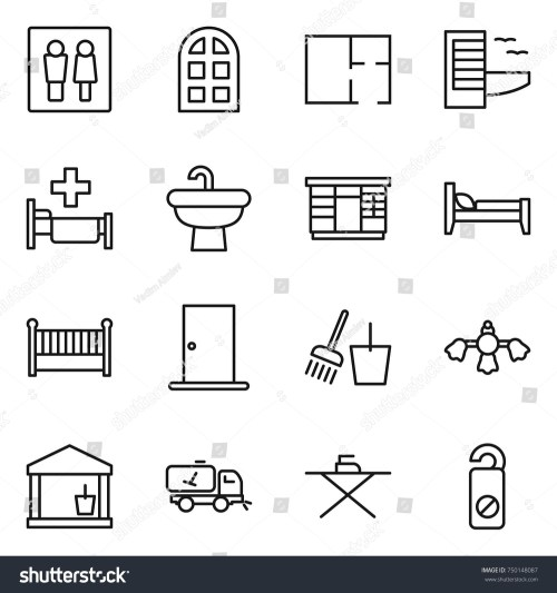 small resolution of thin line icon set wc arch window plan hotel hospital