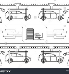 thin line style car assembly line automatic auto production conveyor robotic car machinery industry [ 1500 x 1252 Pixel ]