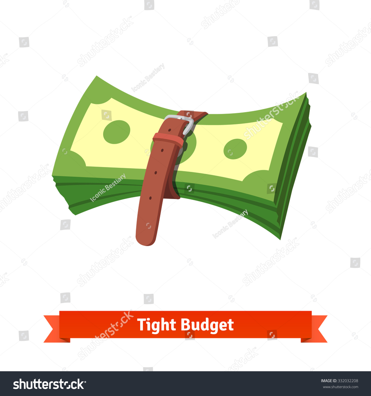 Tight Budget And Recession Shrinking Economy Concept. Pack Of Money Dollar Bills Squeezed By Leather Strap Belt. Flat Style Vector Illustration ...