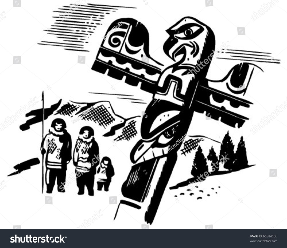 medium resolution of totem pole retro clipart illustration