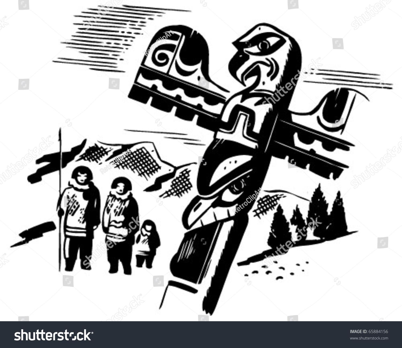 hight resolution of totem pole retro clipart illustration