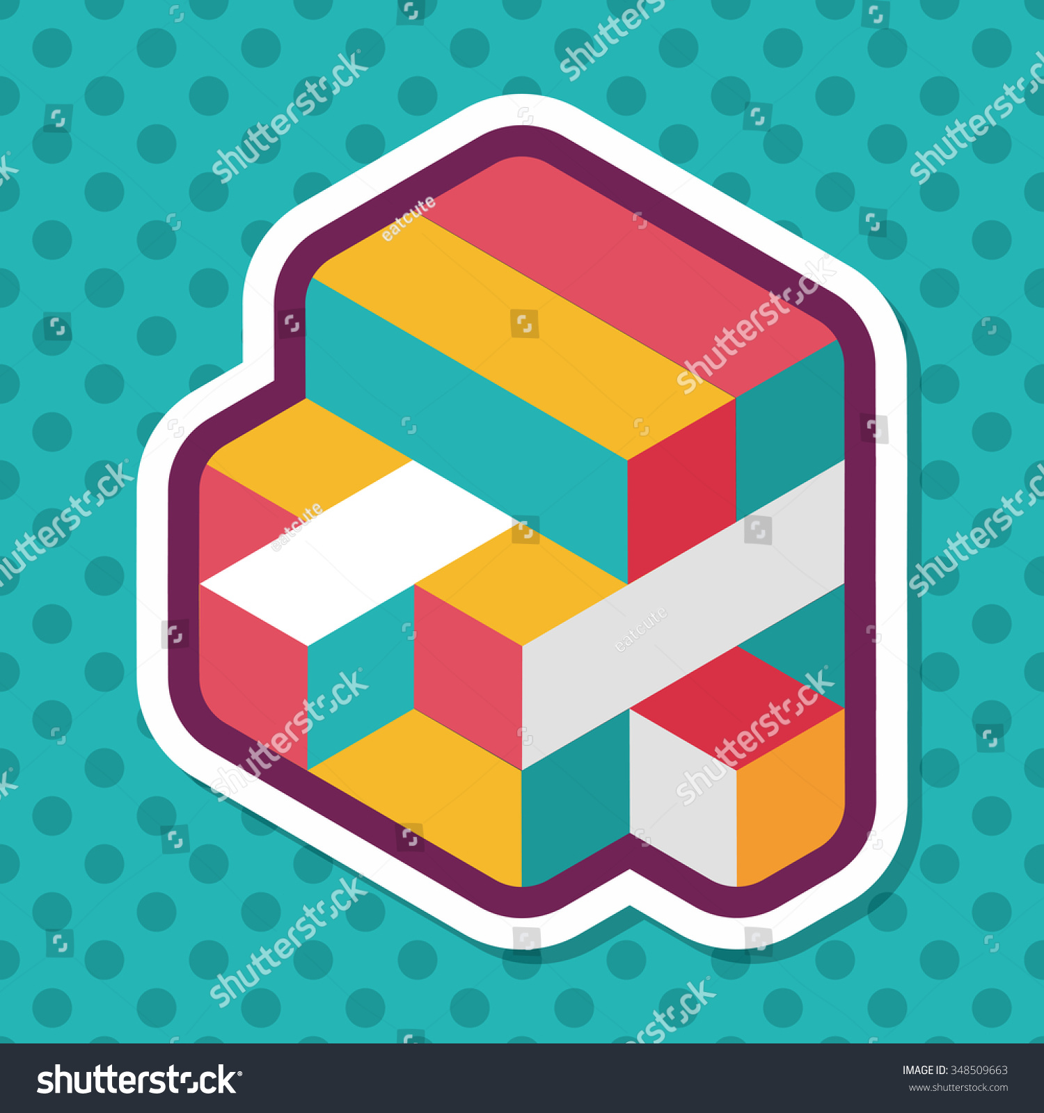 Toy Cube Flat Icon Long Shadoweps10 Stock Vector