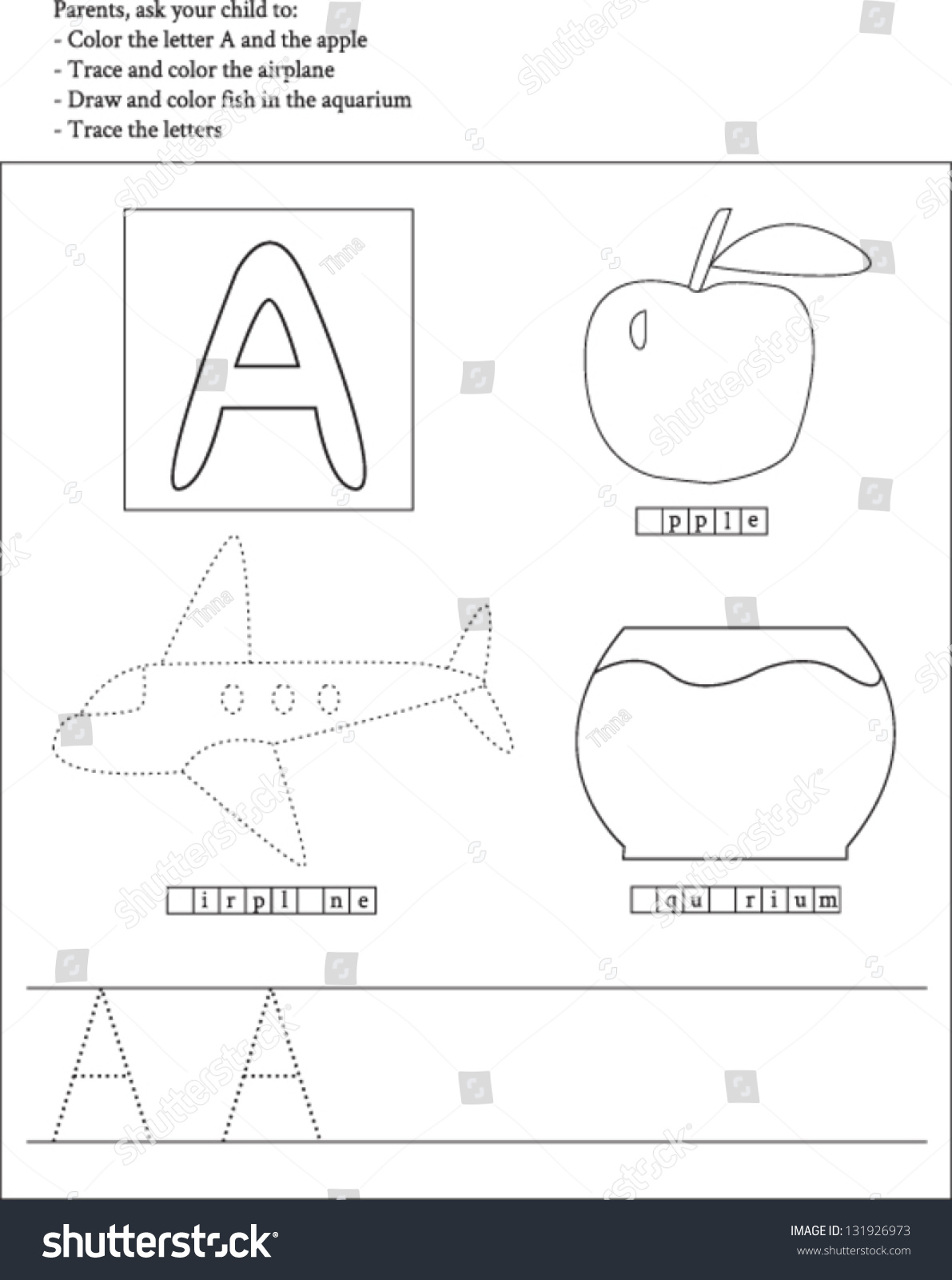 Trace Color Letter A Worksheet Preschoolers Stock Vector