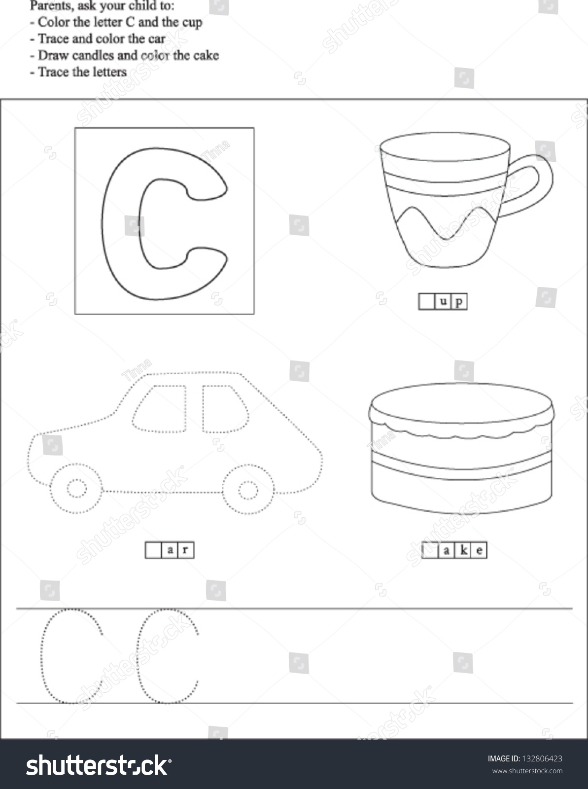 Trace And Color Letter C Worksheet For Preschoolers Stock Vector Illustration