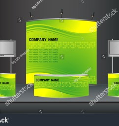 trade exhibition stand and widescreen lcd monitor on promotion counter with identity background ready for [ 1500 x 1012 Pixel ]
