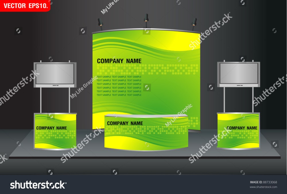 medium resolution of trade exhibition stand and widescreen lcd monitor on promotion counter with identity background ready for