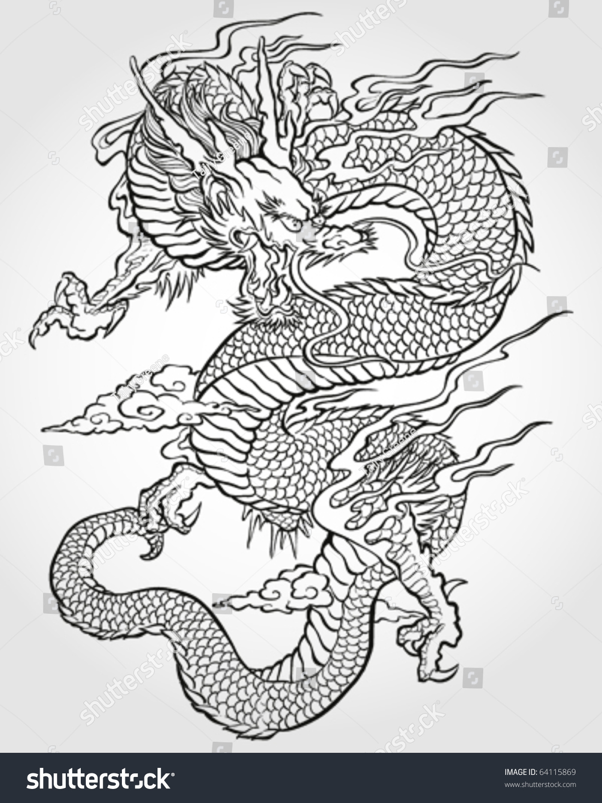 Tradition Asian Dragon Illustration Stock Vector