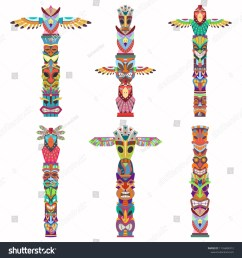 traditional totem pole with tiki mask and eagle vector cartoon flat icons set isolated on white background  [ 1500 x 1600 Pixel ]