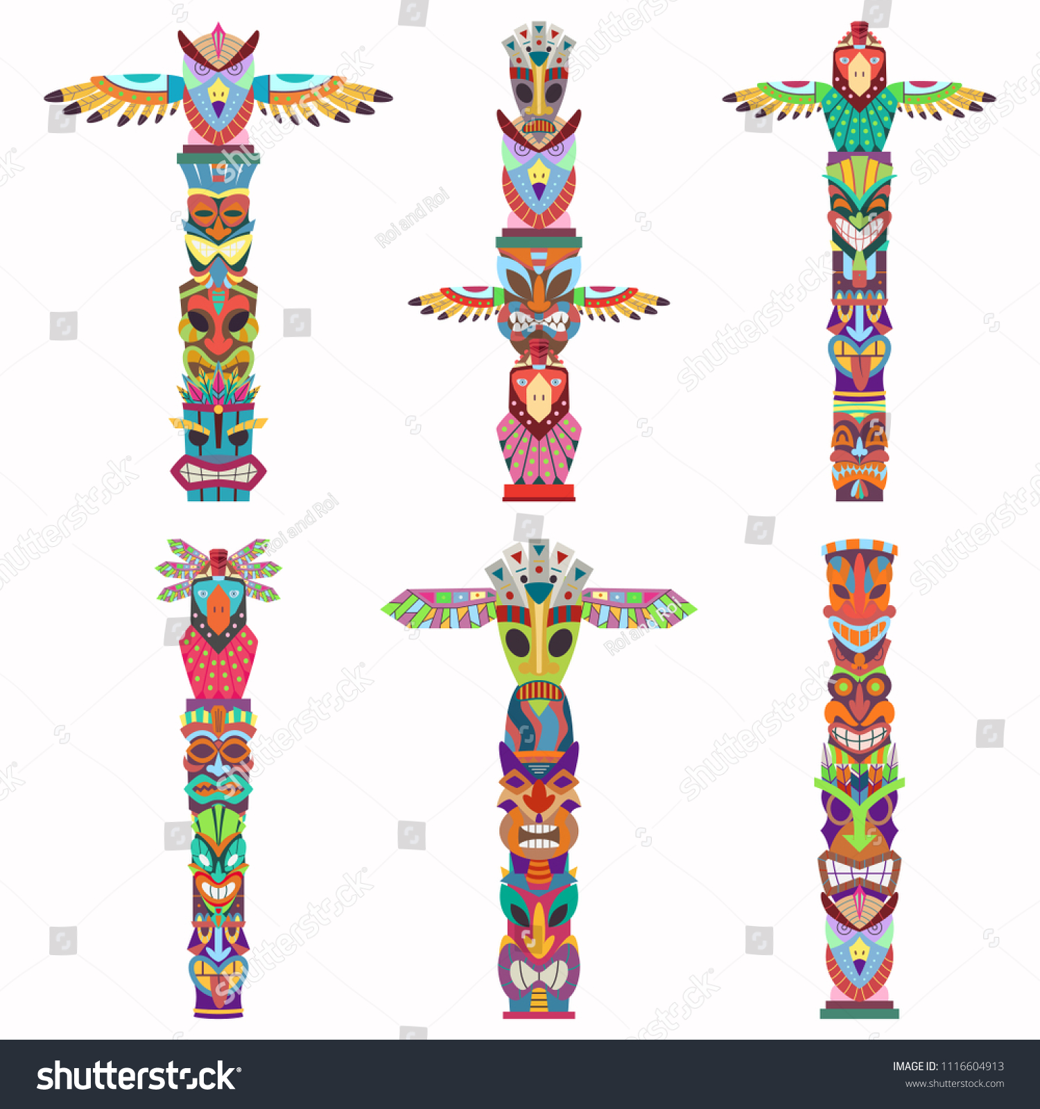 hight resolution of traditional totem pole with tiki mask and eagle vector cartoon flat icons set isolated on white background