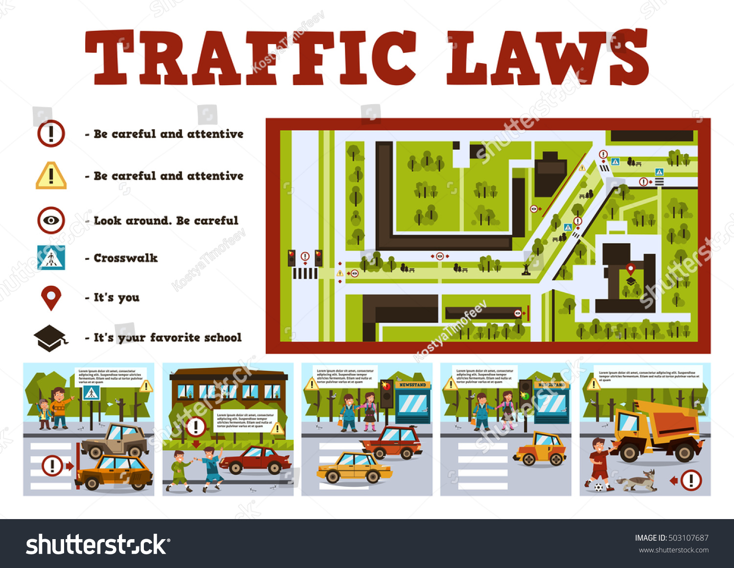 Traffic Laws Poster School Children Illustrations Stock