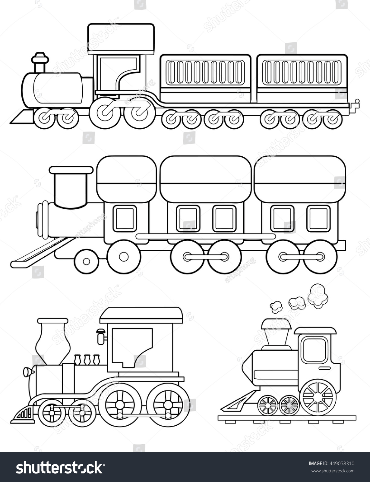 Train Coloring Page Vector Stock Vector