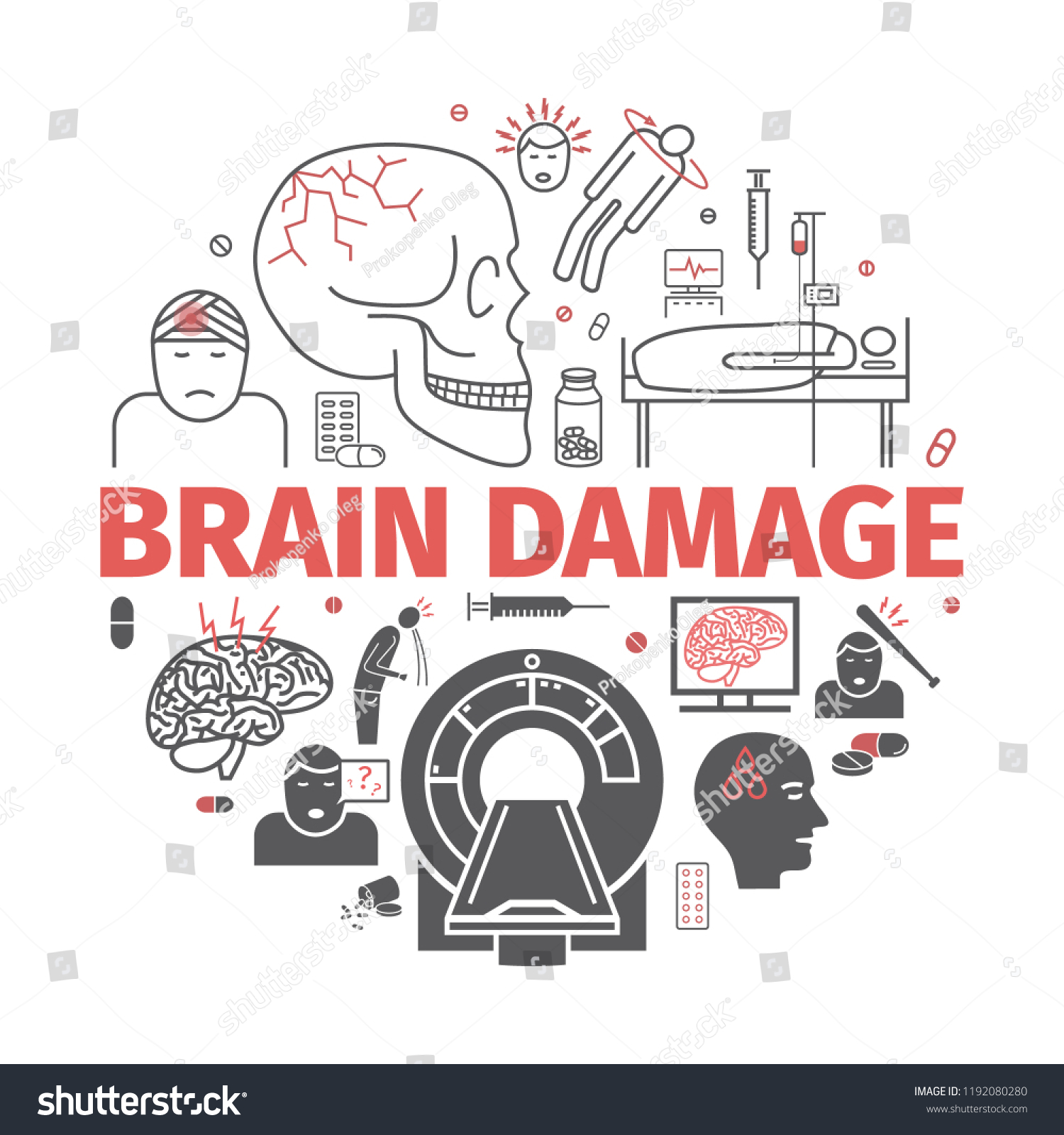 hight resolution of traumatic brain injury banner head injury treatment vector signs for web graphics