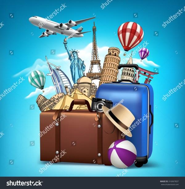 Travel Tourism Famous World Landmarks 3d Stock Vector