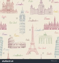Travel Seamless Pattern. Vacation In Europe Wallpaper ...