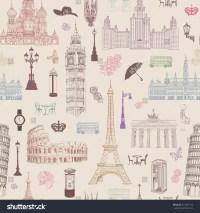 Travel Seamless Pattern Vacation Europe Wallpaper Stock ...