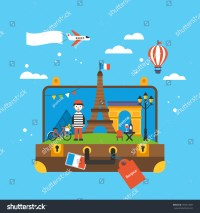 Travel To Paris, France Concept With Landmark Icons Inside ...