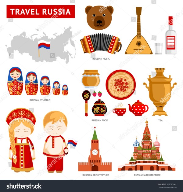 Travel Russia Set Icons Russian Architecture Stock Vector