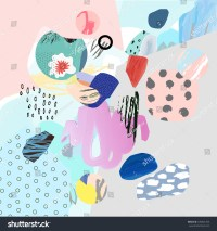 Trendy Creative Collage Different Textures Shapes Stock ...