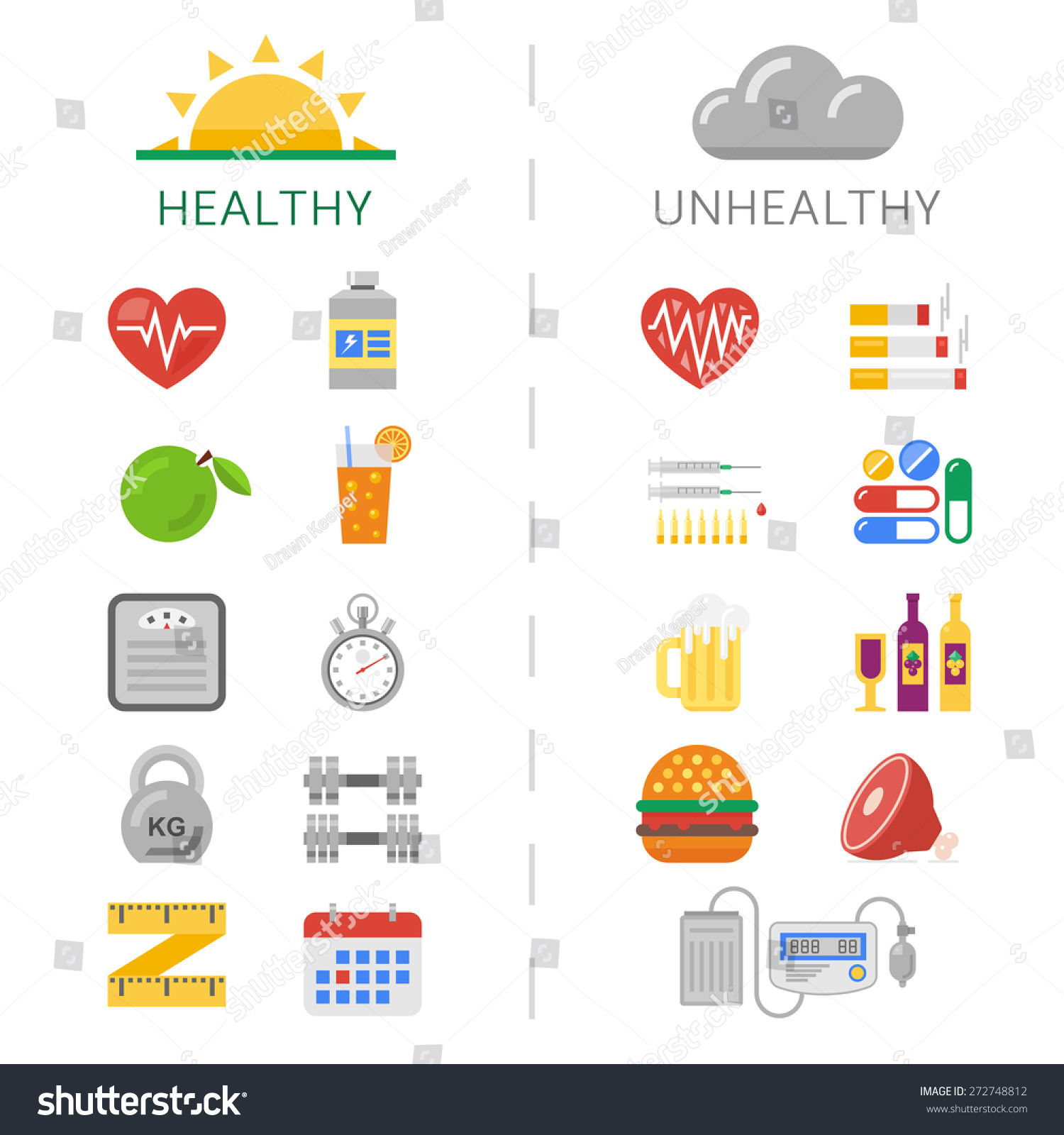 Trendy Healthy Unhealthy Lifestyle Icons Sport Stock