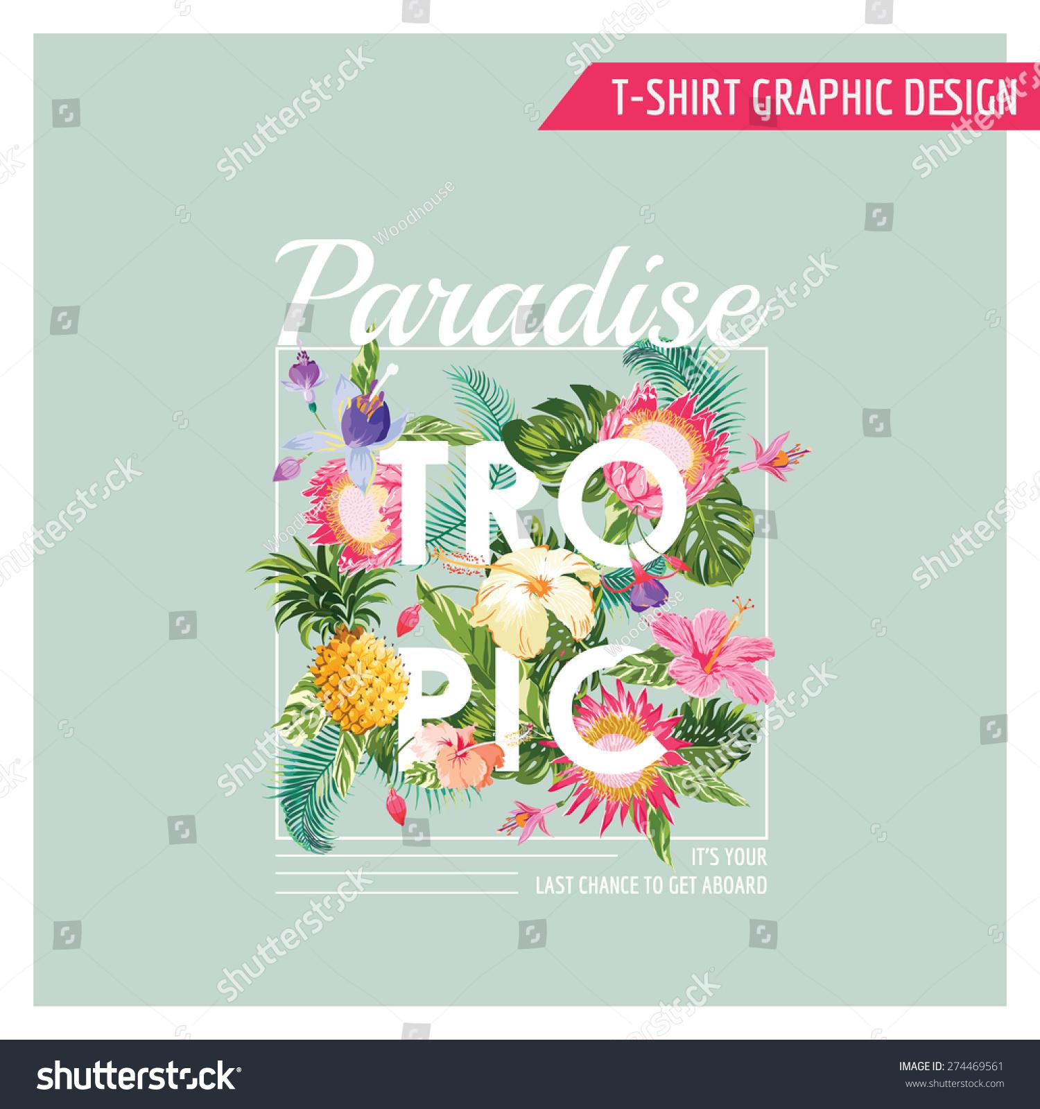 Tropical Flowers Graphic Design Tshirt Fashion Stock