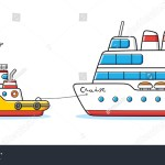 Tug Boat Towing Cruise Ship Isolated Stock Vector Royalty Free 1338972989