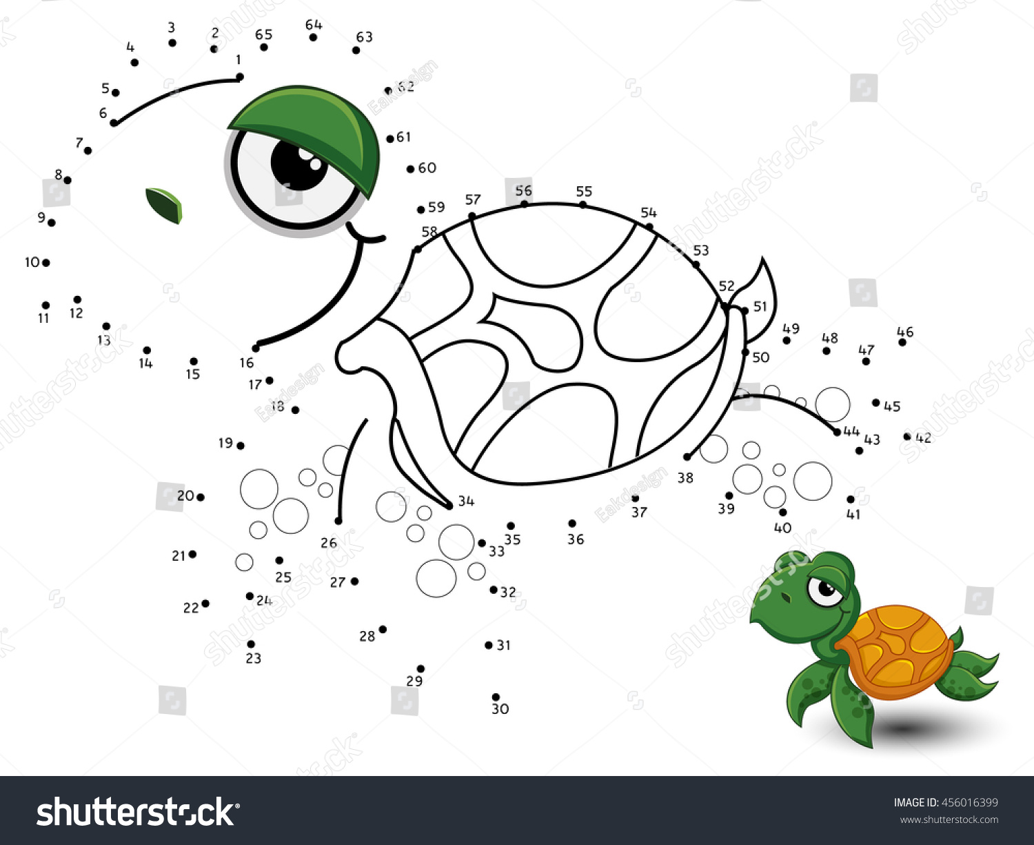 Turtle Connect Dot Color Stock Vector