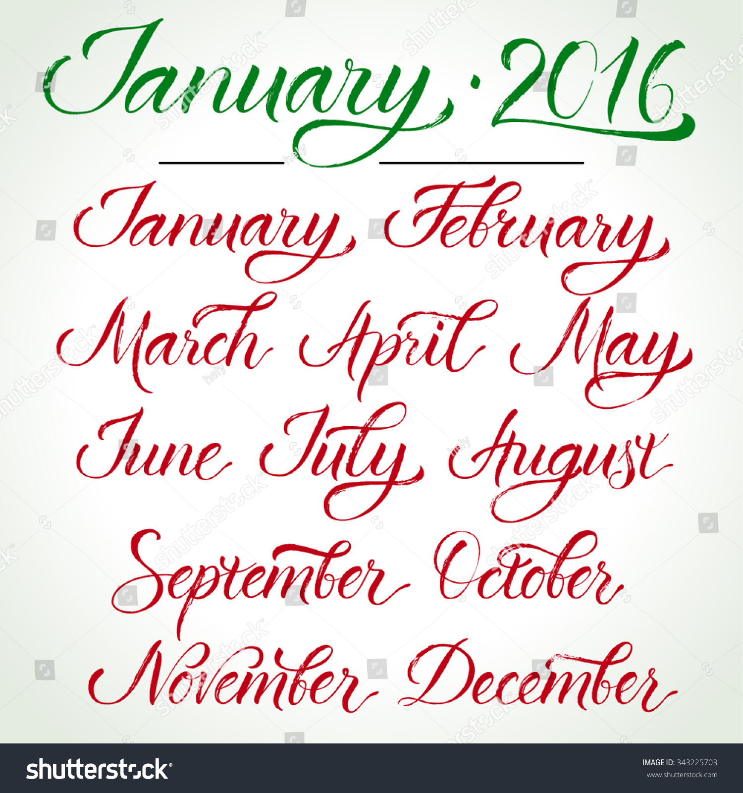 Twelve Months Hand Written Calligraphy Template For Calendar Brush Painted Letters Vector