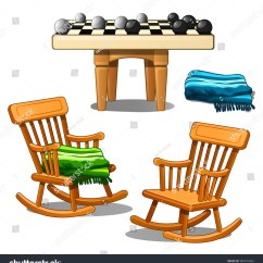 Swing Chair Drawing Covers Design Two Armchairsrocking Chairs Round Checkers Stock Vector