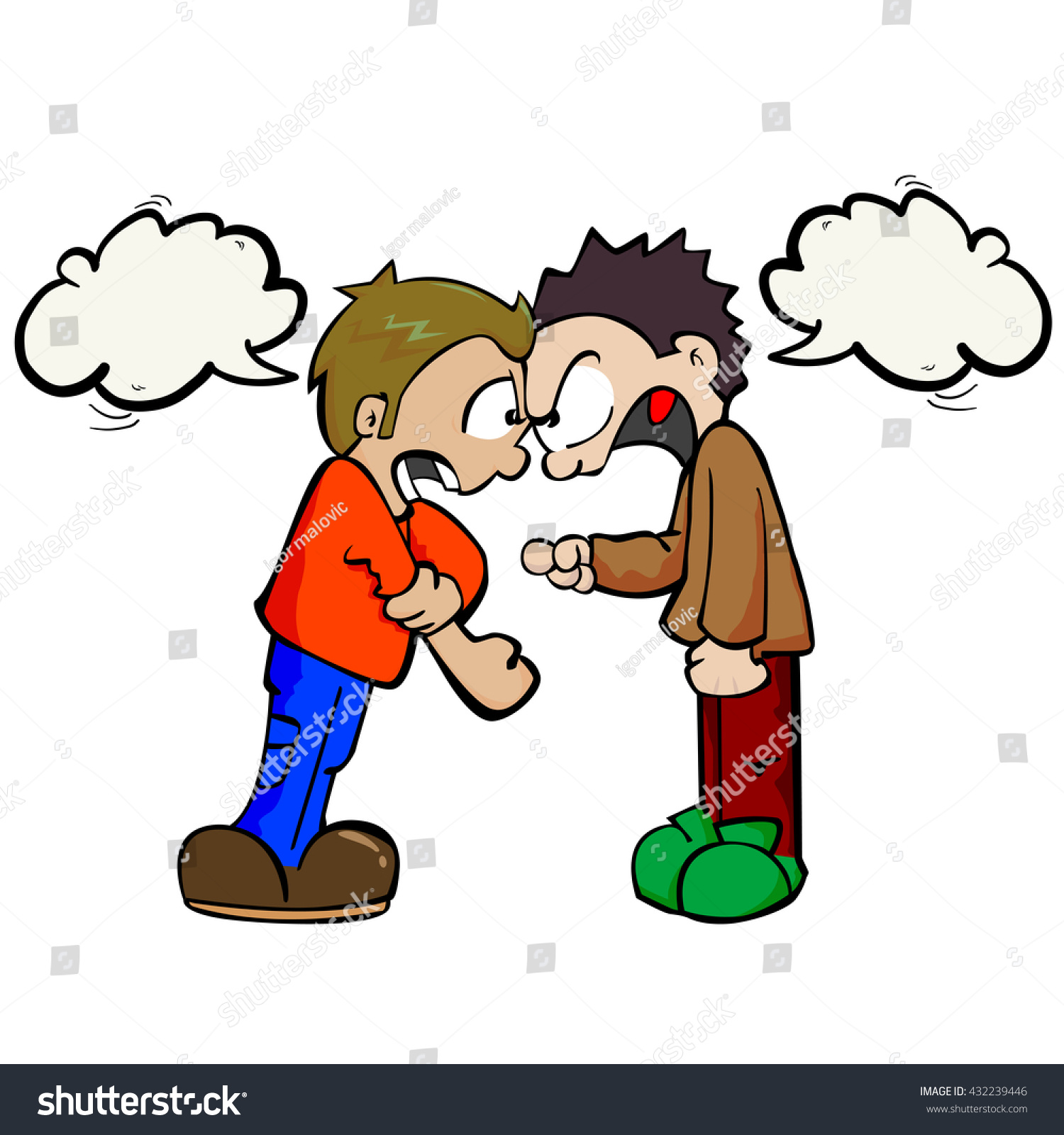Two Boys Speech Bubbles Fighting Cartoon Stock Vector