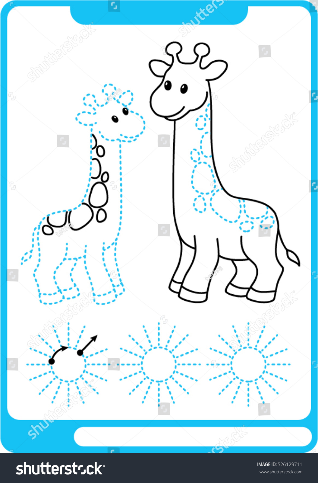 Two Giraffe Preschool Worksheet Practicing Fine Stock